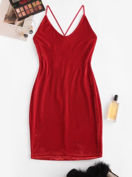 ladies Straps Lace-up Velvet Bodycon Cami Dress - RED L