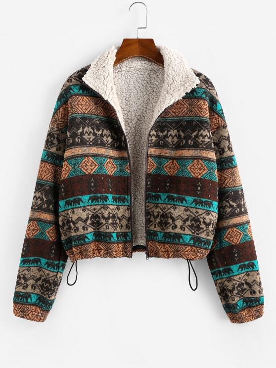 hot ZAFUL Plus Size Ethnic Faux Shearling Lined Drawstring Zip Jacket - MULTI XL