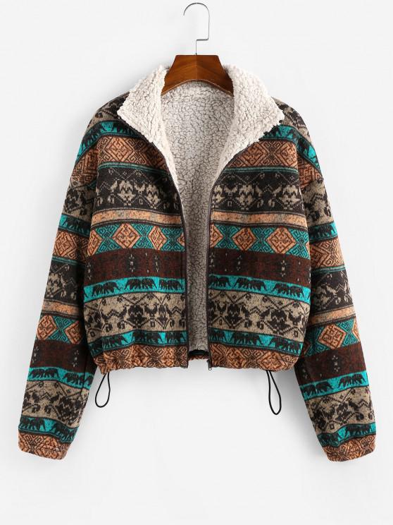 shop ZAFUL Plus Size Ethnic Faux Shearling Lined Drawstring Zip Jacket - MULTI 4XL