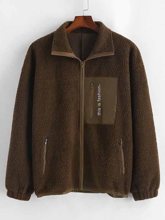 fancy Letter Print Zipper Pockets Teddy Jacket - DEEP COFFEE M
