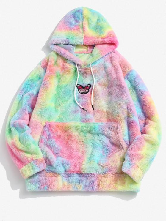 Tie Dye Pattern Butterfly Embroidered Fluffy Hoodie - وردي فاتح S