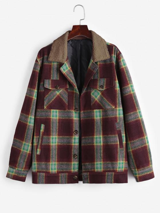 women ZAFUL Plaid Print Borg Collar Wool Blend Jacket - DEEP COFFEE XL