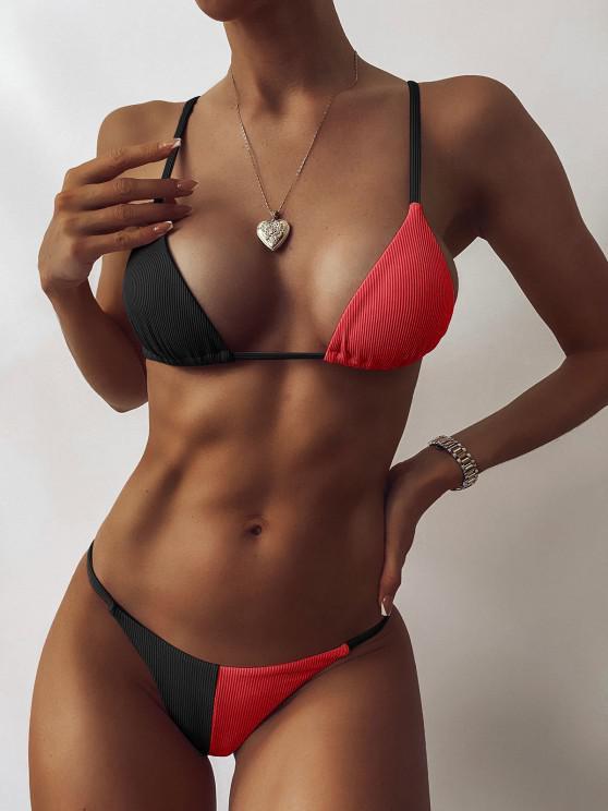 outfit ZAFUL Ribbed Two Tone String Bikini Swimwear - BLACK S