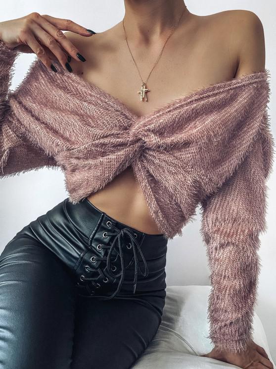 best ZAFUL Fuzzy Twisted Drop Shoulder Jumper Sweater - DEEP PINK XL