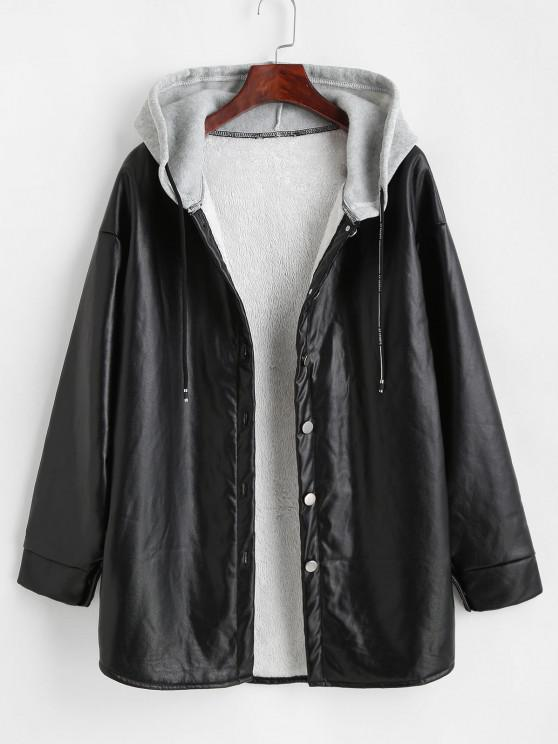 Hooded Fluffy Lined Faux Leather Coat - أسود M