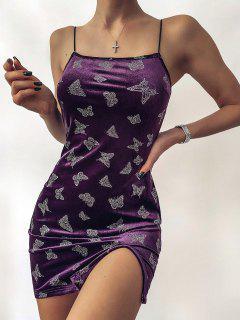 ZAFUL Metallic Butterfly Slit Velvet Cami Dress - Dark Orchid M