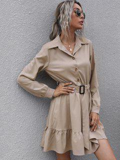 Half Button Belted Flounce Shirt Dress - Light Coffee S