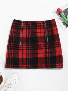 ZAFUL Plaid Mini Skirt With Double Zip - Red M
