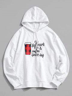 Christmas Cup Text Print Kangaroo Pocket Hoodie - White Xl