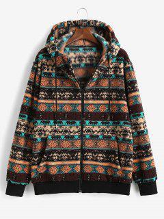 ZAFUL Tribal Pattern Hooded Fleece Jacket - Deep Coffee S