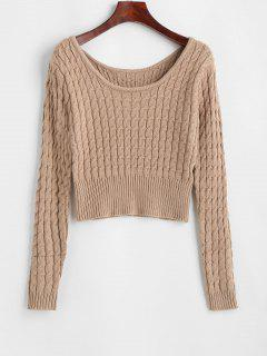 Crew Neck Ribbed Trim Cable Knit Sweater - Light Coffee