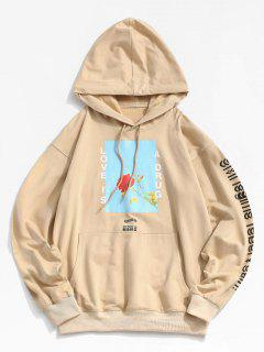 Love Is A Drug And Rose Pattern Hoodie - Light Khaki 2xl