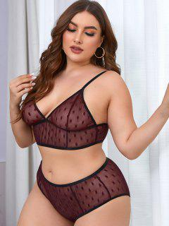 Plus Size Swiss Dot Mesh Lingerie Set - Deep Red 4xl