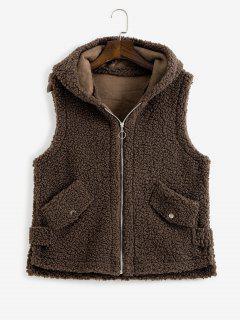 Hooded Pocket Slit Teddy Vest Coat - Deep Coffee