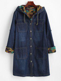 Casaco Denim Com Forro De Lã Com Capuz - Azul L