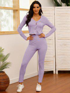 Solid Ribbed Button Up Two Piece Set - Light Purple L