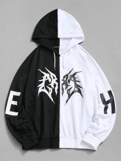 Kontrast Hoodie Mit Buchstabenmuster Und Kordelzug - Weiß Xl
