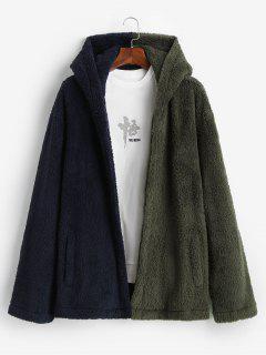 Hooded Open Front Contrast Fluffy Jacket - Deep Green L