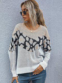 Side Slit High Low Leopard Panel Sweater - Multi L
