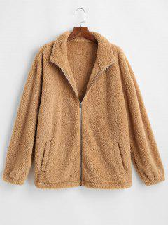 Zip Up Slash Pockets Fluffy Jacket - Coffee M