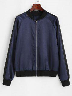 Zip Up Ribbed Trim Silky Bomber Jacket - Deep Blue M