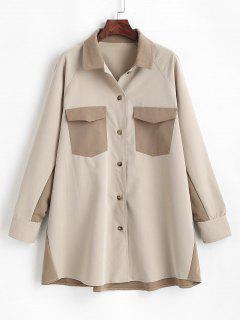 Two Tone Flap Pockets Longline Shirt - Light Coffee S