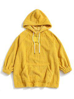 Frog Button Ribbed Fuzzy Hoodie - Yellow M