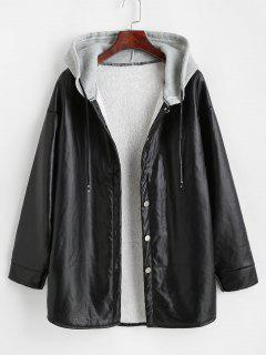 Hooded Fluffy Lined Faux Leather Coat - Black S