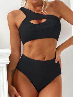 ZAFUL One Shoulder Keyhole Textured Ribbed Tankini Swimsuit - Black L