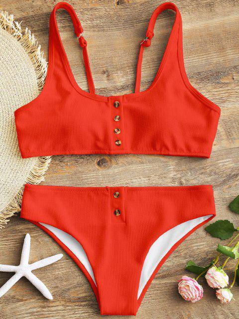 Ensemble de Bikini Texturé Côtelé Rembourré avec Boutons - Rouge S Mobile