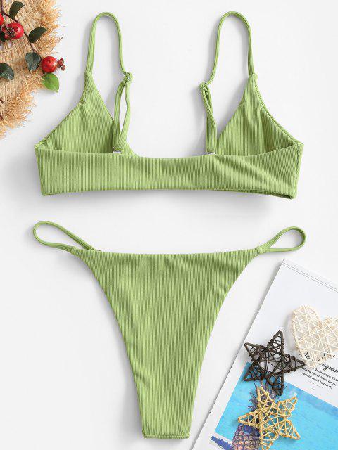 ZAFUL Bikini Acanalado de Cordón - Verde de Pistacho S Mobile