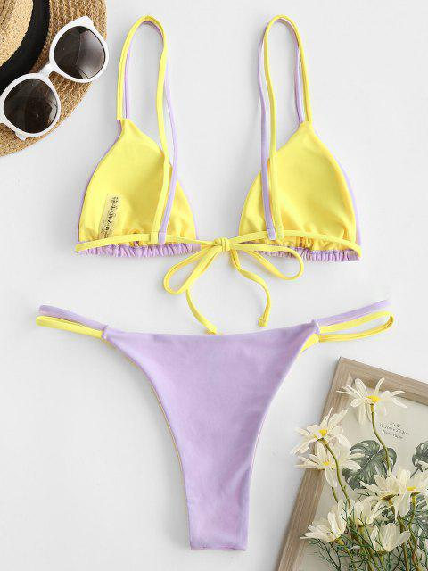 chic ZAFUL Dual Straps Two Tone String Bikini Swimwear - LIGHT PURPLE L Mobile