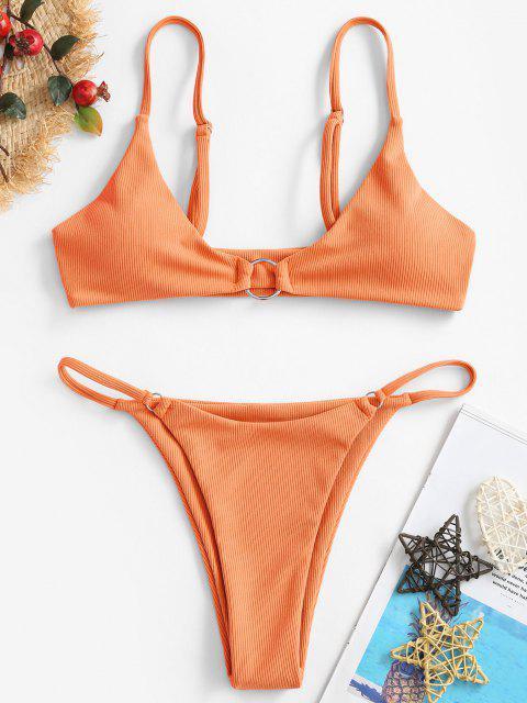 best ZAFUL Ribbed O-ring String Bikini Swimsuit - ORANGE L Mobile