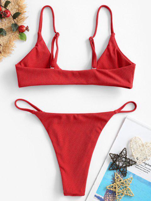 online ZAFUL Ribbed O-ring String Bikini Swimsuit - RED M Mobile