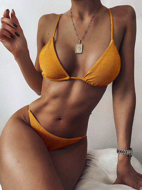 best ZAFUL Textured Tie String Bikini Swimwear - DARK ORANGE S Mobile