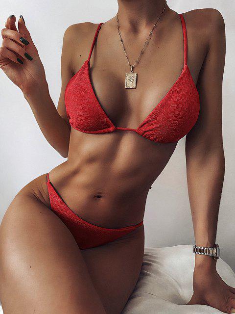outfits ZAFUL Textured Tie String Bikini Swimwear - RED S Mobile