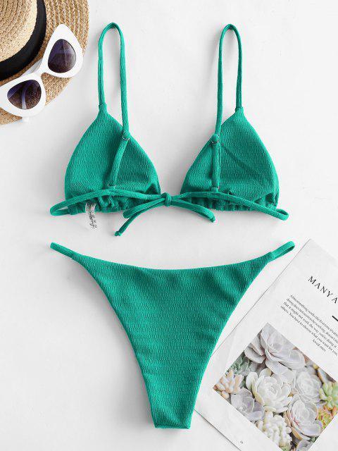 ZAFUL Costume da Bagno Bikini a Incrocio con Fiocco - Verde chiaro S Mobile