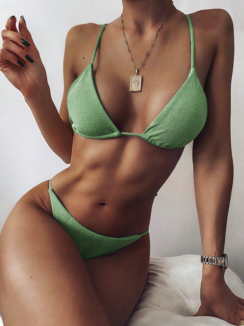 ZAFUL Maillot de Bain Bikini Noué Texturé à Corde - Vert Pois S Mobile