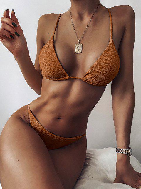 sale ZAFUL Textured Tie String Bikini Swimwear - LIGHT BROWN S Mobile