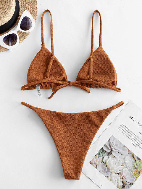 buy ZAFUL Textured Tie String Bikini Swimwear - LIGHT BROWN L Mobile