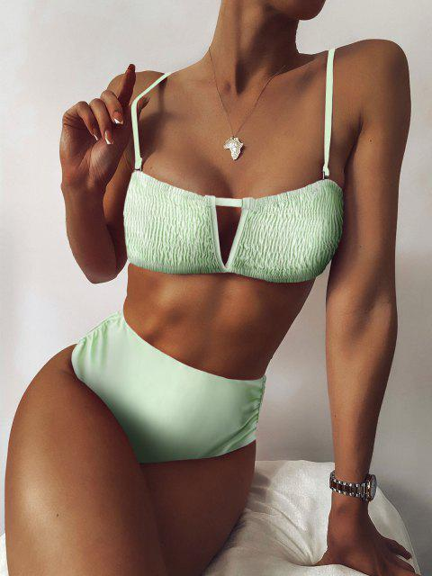 ZAFUL Kittel V Verdrahtete Bikini Badebekleidung mit Hoher Taille - Minzgrün S Mobile