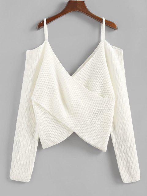 shop ZAFUL Overlap Cold Shoulder Jumper Sweater - WHITE M Mobile
