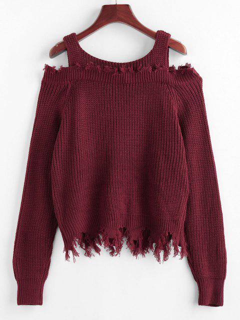 new ZAFUL Frayed Cold Shoulder Jumper Sweater - DEEP RED M Mobile