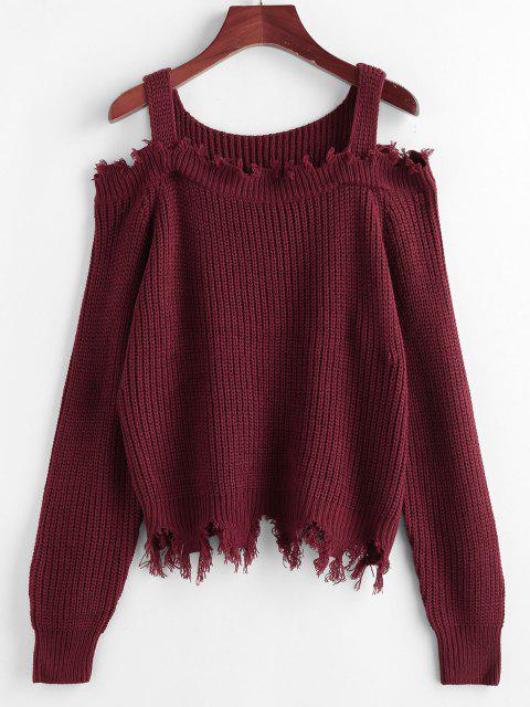 new ZAFUL Frayed Cold Shoulder Jumper Sweater - DEEP RED M Mobile