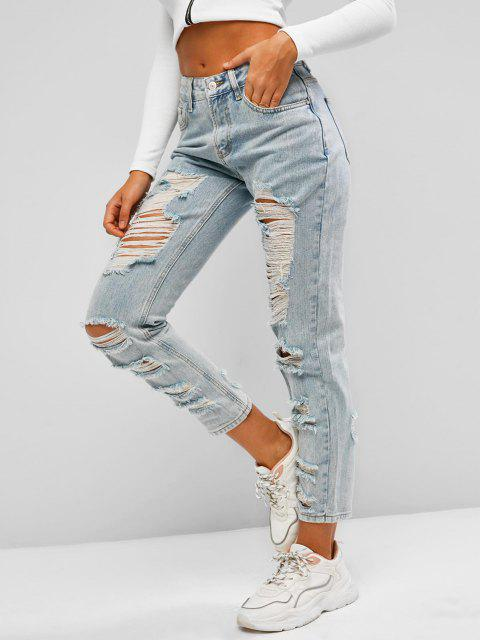 fancy Ripped Light Wash Pencil Pocket Jeans - LIGHT BLUE S Mobile