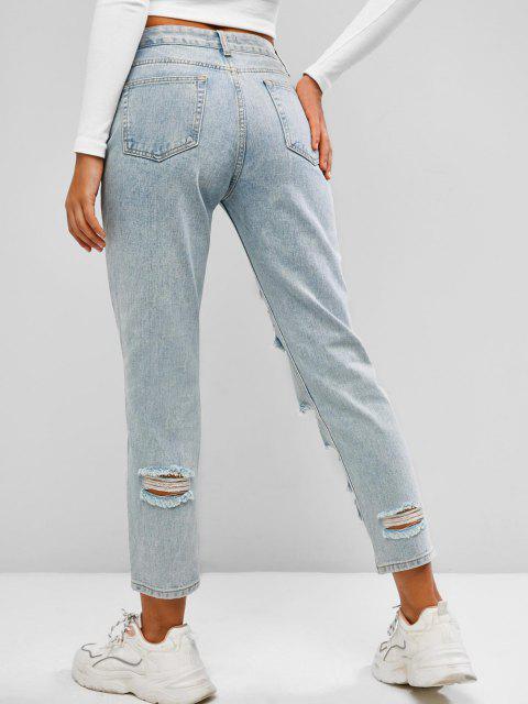 trendy Ripped Light Wash Pencil Pocket Jeans - LIGHT BLUE L Mobile