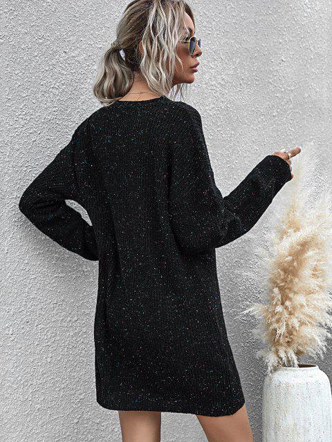 chic Confetti Drop Shoulder Choker Sweater Dress - BLACK M Mobile