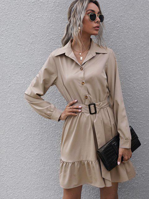 Halbes Knopf Gürtel Volant Hemd Kleid - Licht Kaffee L Mobile