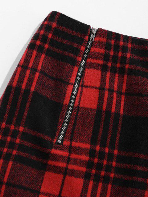 fancy ZAFUL Plaid Mini Skirt with Double Zip - RED M Mobile