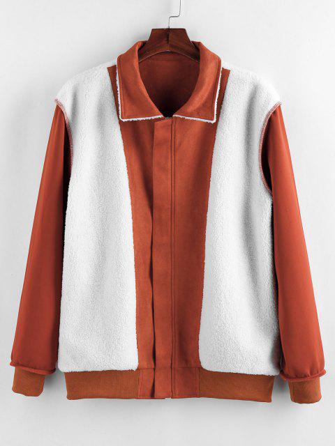 ZAFUL Veste Zippée à Doublure en Fausse Laine - Orange Foncé XL Mobile